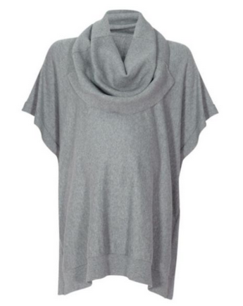 Grey cowl neck knitted cape