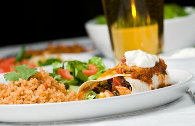 Chicken with bean enchiladas
