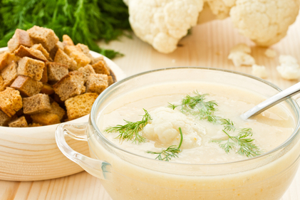 Cauliflower with cheese soup