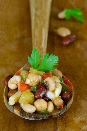 Mixed bean and parsley salad