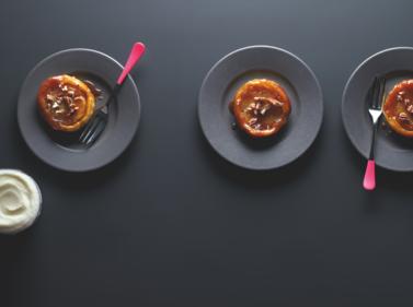 Spiced apple tarte tatins with vanilla frozen yogurt
