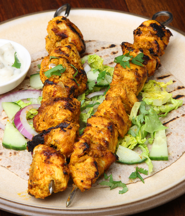 Grilled chicken tikka skewers