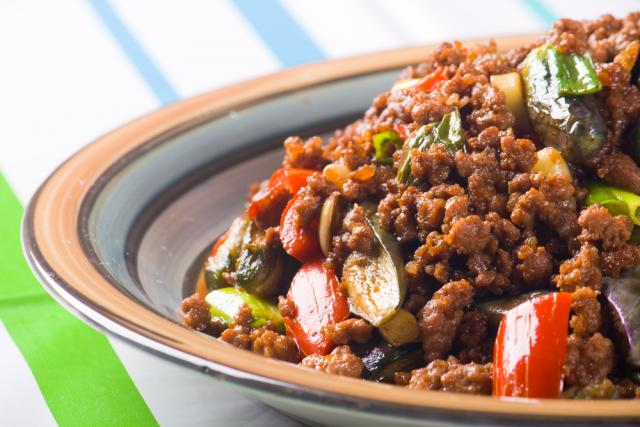 Spicy beef, with aubergine