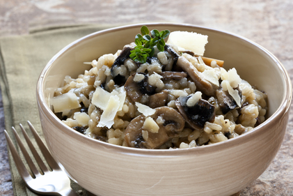 Mushroom risotto with bacon