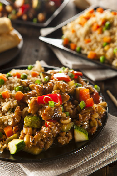 Spicy turkey and vegetable fried rice
