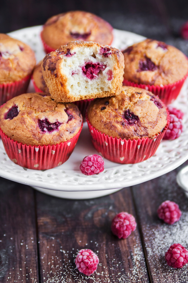 Raspberry with coffee muffins