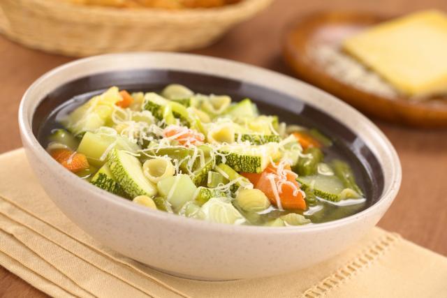 Potato and courgette, cheesy soup