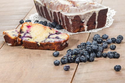 Blueberry loaf cake with lemon drizzle curd