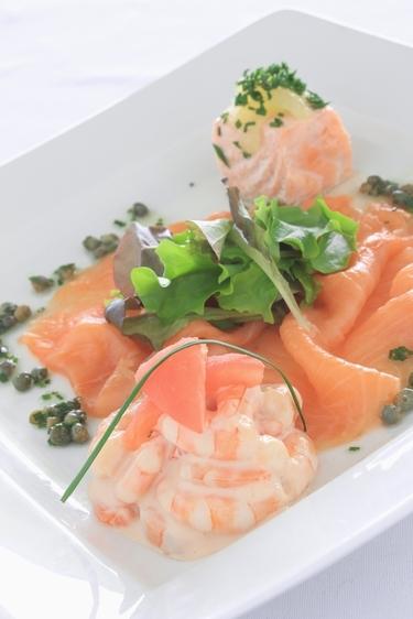 Salmon and prawns with herb aioli