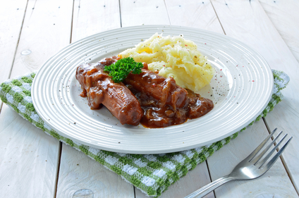 Sausages with root mash