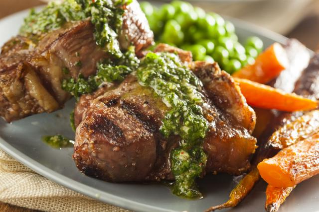 Lamb chops with herb pesto and roast carrots