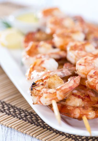Spicy prawn canapés