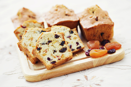 Fruit loaf infused with tea