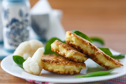 Cauliflower with cheese fritters