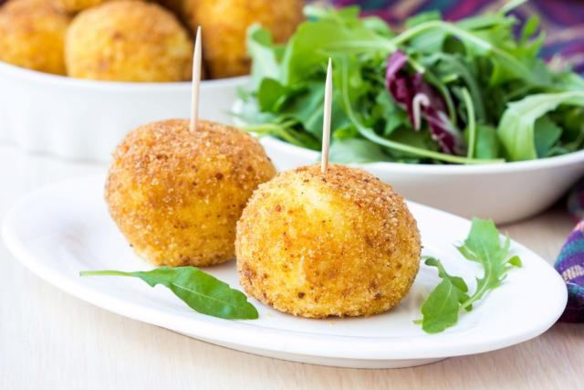 Cheese filled rice balls