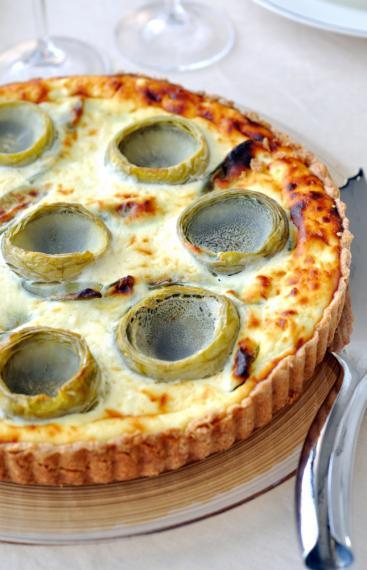 Artichoke and broad bean tart