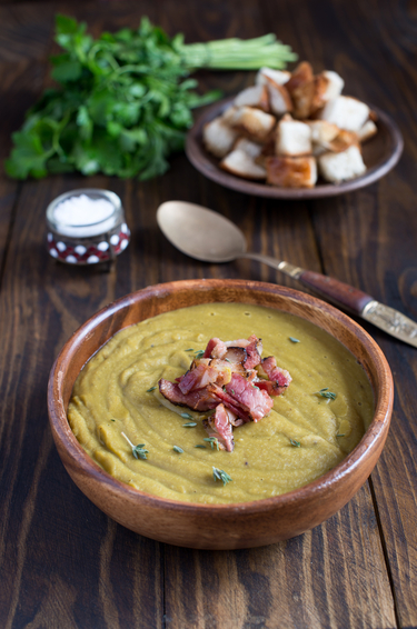Celeriac, thyme soup topped with pancetta