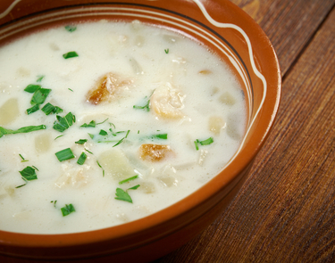 Smoked haddock and celeriac soup
