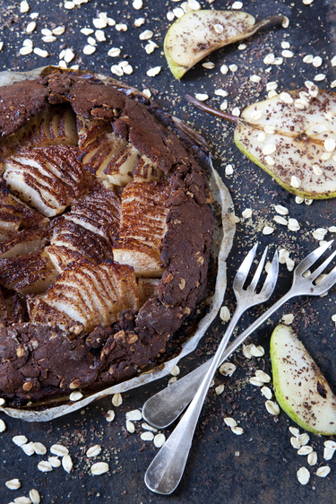 Chocolate and pear pudding