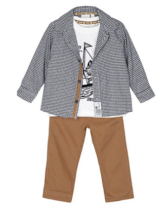 Designer Checked Shirt, T-shirt and Trousers set