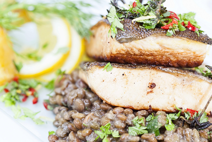 Lentils and grilled salmon
