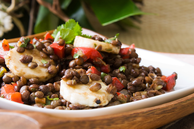 Salmon and lentil salad
