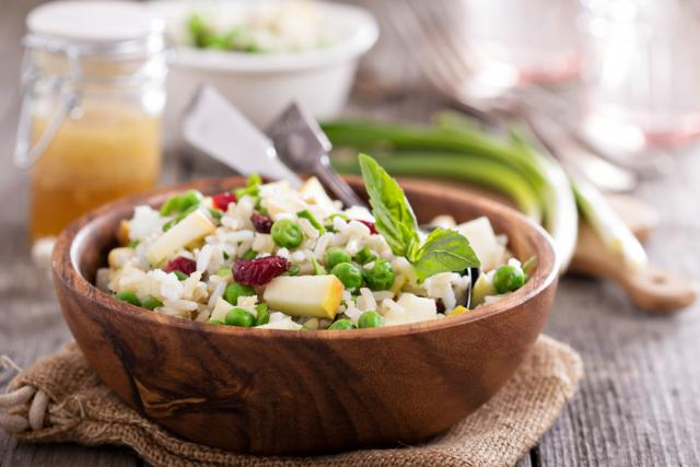 Mixed vegetables, fruits and rice salad