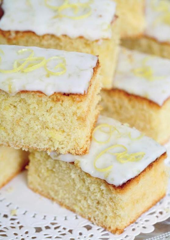 Lemon drizzle slices