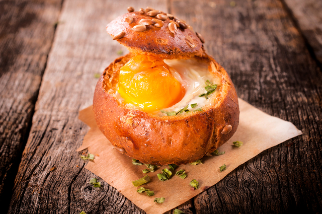Baked egg and herb rolls
