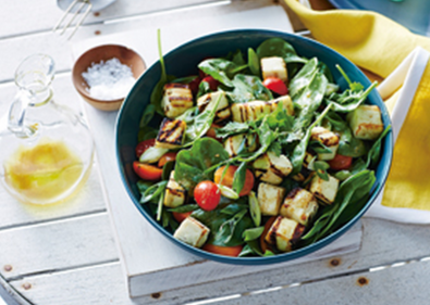 Chargrilled paneer and spinach salad