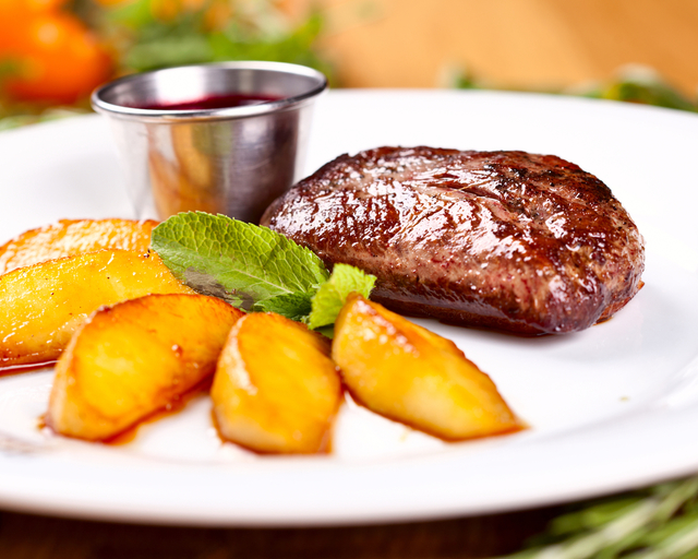 Duck breast with peaches