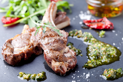 Lamb chops with fresh mint and herb sauce