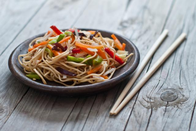 Five-spice noodles with mixed vegetables