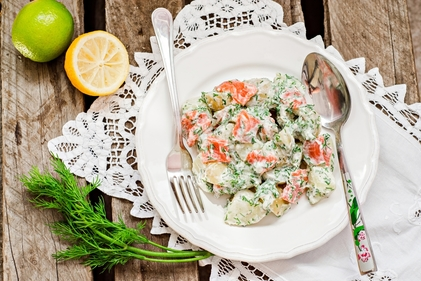 Salmon, potato and cucumber salad