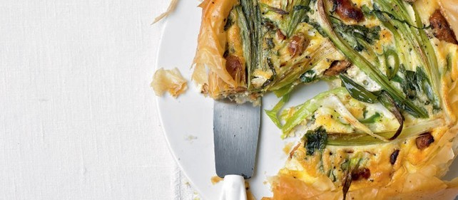 Leek vegetable filo pie