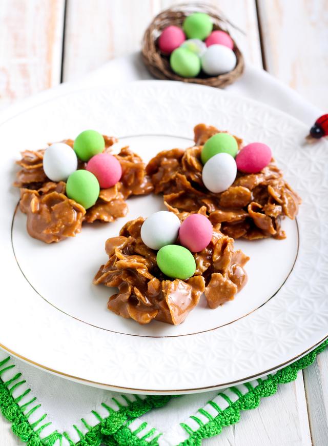 Chocolate caramel cornflake mini nests