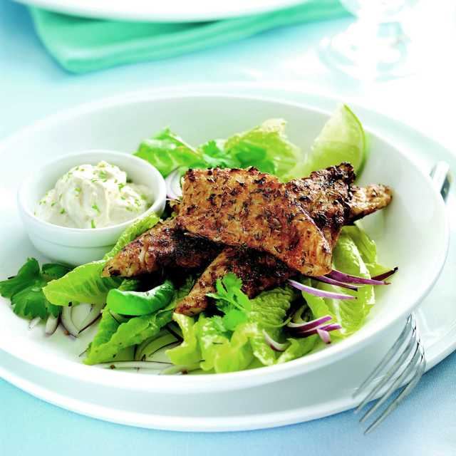 Blackened fish with fresh green dressing