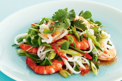 Spring cabbage, apple and prawn salad