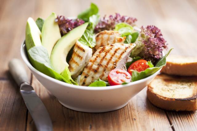 Grilled turkey with avocado salad