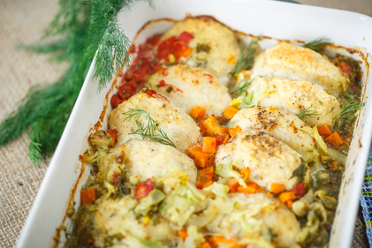 Baked Mediterranean fish with crispy topping