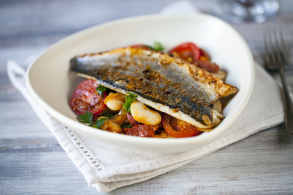 Crisp sea bass with citrus mayonnaise