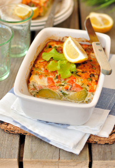 Salmon, pesto and potato tray bake with artichoke hearts