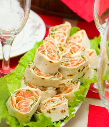 Smoked salmon tortilla sushi wraps