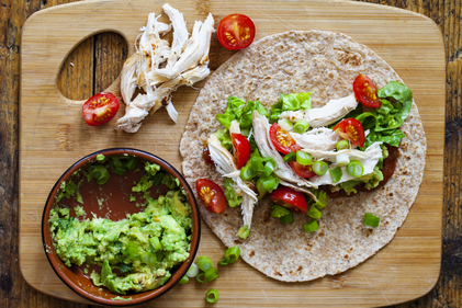 Open face chicken wraps with guacamole