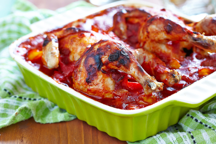 Chicken one-pot with sweet peppers and onions
