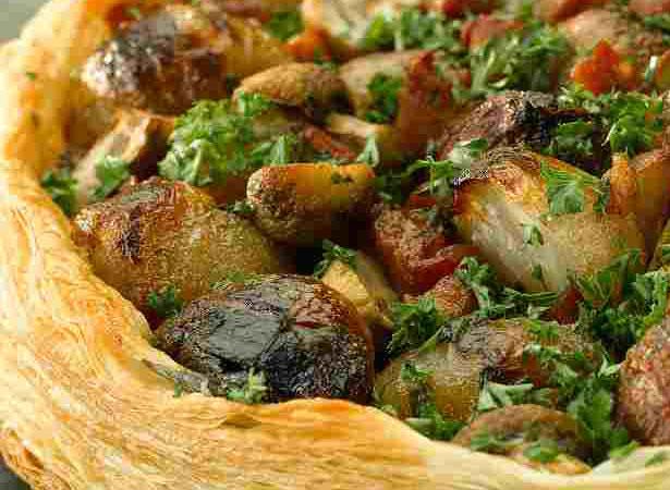 Shallot, Pancetta and Mushroom Galette
