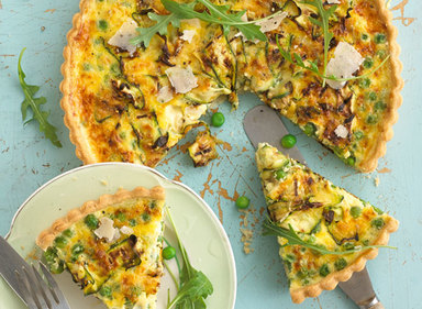 Pea, Parmesan and Courgette Tart