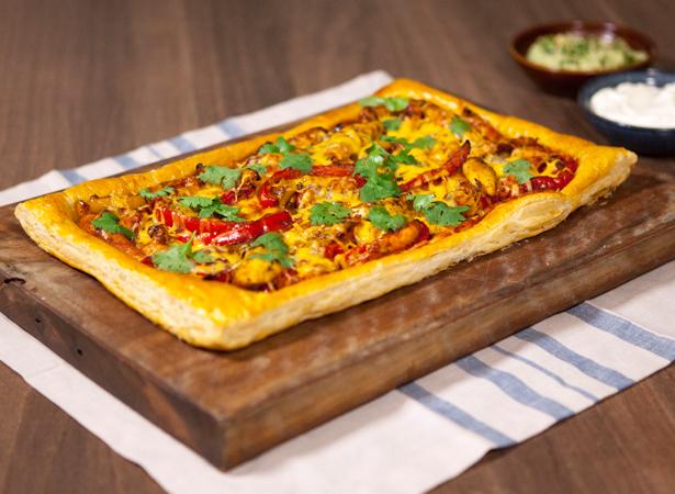 Mexican Chicken Fajita Puff Tart