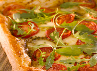 Tomato, Cheese and Rocket Puff Slice
