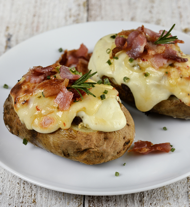Bacon and Cheddar cheese stuffed potatoes